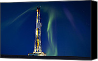 Night Photo Canvas Prints - Drilling Rig Saskatchewan Canvas Print by Mark Duffy