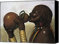 Black Woman Canvas Prints - Drinking Gourd Canvas Print by L Cooper