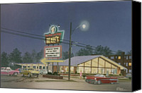 1960 Painting Canvas Prints - Drive-in Restaurant Canvas Print by C Robert Follett