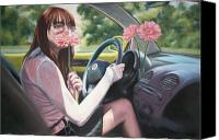Beatles Pastels Canvas Prints - Drive My Car Canvas Print by Alice McMahon White