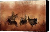 Wild Stallion Canvas Prints - Driving the Herd Canvas Print by Corey Ford