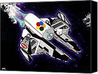 Cap Painting Canvas Prints - Drobot Space Fighter Canvas Print by Keith QbNyc
