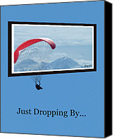 Kites Digital Art Canvas Prints - Dropping In Hang Glider Canvas Print by Cindy Wright