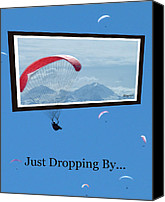 Kites Digital Art Canvas Prints - Dropping In Hang Gliders Canvas Print by Cindy Wright