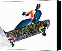 Skate Canvas Prints - Dropping In Canvas Print by Meirion Matthias