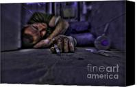 Hypodermic Canvas Prints - Drug addict shooting up Canvas Print by Guy Viner