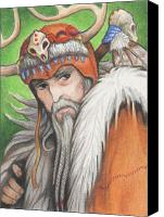 Primitive Drawings Canvas Prints - Druid Priest Canvas Print by Amy S Turner