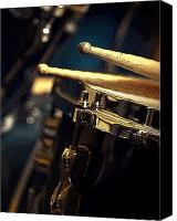 Drum Set Canvas Prints - Drum Sticks Digital Posterized Image Canvas Print by Rebecca Brittain