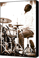 Drum Set Canvas Prints - Drummer Larnell Lewis at Sunfest Canvas Print by Gordon Wood