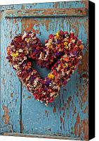 Hearts Photo Canvas Prints - Dry flower wreath on blue door Canvas Print by Garry Gay