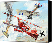 Air Plane Drawings Canvas Prints - Du Doch Nicht Canvas Print by Charles Taylor