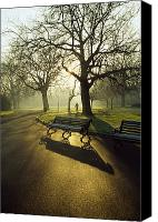 Park Benches Photo Canvas Prints - Dublin - Parks, St. Stephens Green Canvas Print by The Irish Image Collection