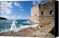 Dubrovnik Canvas Prints - Dubrovnik Fortification and Pier Canvas Print by Artur Bogacki