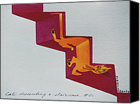 Duchamp Canvas Prints - Duchamps Cat Descending a Staircase  No. 2 Canvas Print by Eve Riser Roberts