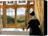 Edwin Canvas Prints - Duchess of Abercorn looking out of a window Canvas Print by Sir Edwin Landseer