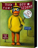 Election Canvas Prints - Duck Boy For President Canvas Print by Leah Saulnier The Painting Maniac