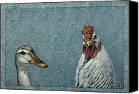 Funny Drawings Canvas Prints - Duck Chicken Canvas Print by James W Johnson