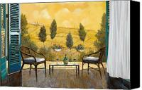 Tuscany Painting Canvas Prints - due bicchieri di Chianti Canvas Print by Guido Borelli