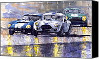 Classic Cars Canvas Prints - Duel AC Cobra and Shelby Daytona Coupe 1965 Canvas Print by Yuriy  Shevchuk