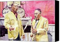 Featured Artist Canvas Prints - Duke Ellington and Johnny Hodges Canvas Print by David Lloyd Glover