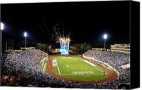 Fireworks Photo Canvas Prints - Duke Fireworks at a Packed Wallace Wade Stadium Canvas Print by Lance King