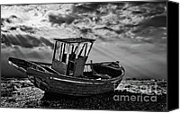 Wooden Boat Canvas Prints - Dungeness In Mono Canvas Print by Meirion Matthias