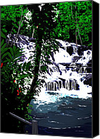 Contemporary Digital Art Special Promotions - Dunns River Falls Jamaica Canvas Print by Colin Tresadern