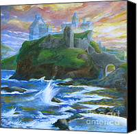 Ruin Drawings Canvas Prints - Dunscaith Castle - Shadows of the past Canvas Print by Samantha Geernaert