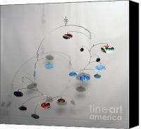 Kinetic Sculpture Sculpture Canvas Prints - Duplicity Style Kinetic Mobile Sculpture Canvas Print by Carolyn Weir