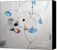 Kinetic Sculpture Sculpture Canvas Prints - Duplicity Style Kinetic Mobile Watercolor Sculpture Canvas Print by Carolyn Weir