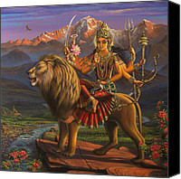 Maya Canvas Prints - Durga Ma Canvas Print by Vrindavan Das