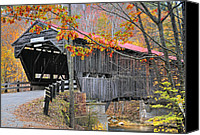 Fall Scenes Canvas Prints - Durgin Covered Bridge - New Hampshire  Canvas Print by Thomas Schoeller
