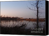 Scenery Pyrography Canvas Prints - Dusk At The Lake Canvas Print by Valia Bradshaw