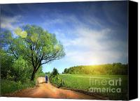 Blue Point Canvas Prints - Dusty road on a beautiful spring day Canvas Print by Sandra Cunningham