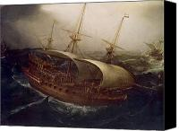 1566 Canvas Prints - Dutch Battleship in a Storm Canvas Print by Hendrick Cornelisz Vroom