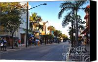 Fun Houses Canvas Prints - Duval Street in Key West Canvas Print by Susanne Van Hulst