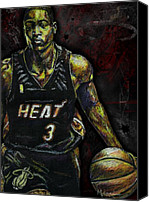 Drawing Drawings Canvas Prints - Dwyane Wade Canvas Print by Maria Arango