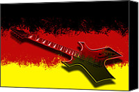 Guitar Headstock Canvas Prints - E-Guitar - German Rock II Canvas Print by Melanie Viola