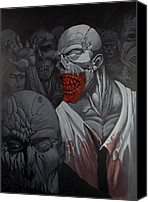 Creepy Painting Canvas Prints - E Pluribus Unum Canvas Print by Jake Perez