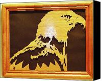 Woodcarving Sculpture Canvas Prints - Eagle Canvas Print by Russell Ellingsworth