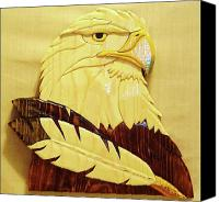National Sculpture Canvas Prints - Eaglehead with Two Feathers Canvas Print by Russell Ellingsworth