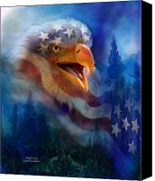 The Art Of Carol Cavalaris Mixed Media Canvas Prints - Eagles Cry Canvas Print by Carol Cavalaris