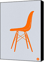 Rocking Chair Canvas Prints - Eames Fiberglass Chair Orange Canvas Print by Irina  March