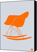 Rocking Chair Canvas Prints - Eames Rocking chair orange Canvas Print by Irina  March