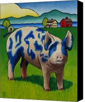 Pig Painting Canvas Prints - Earl of Whidbey Canvas Print by Stacey Neumiller