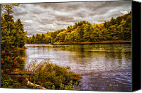 Androscoggin River Canvas Prints - Early Autumn Along the Androscoggin River Canvas Print by Bob Orsillo