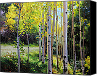 Fall Leaves Canvas Prints - Early Autumn Aspen Canvas Print by Gary Kim