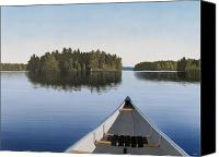 Featured Painting Canvas Prints - Early Evening Paddle  Canvas Print by Kenneth M  Kirsch