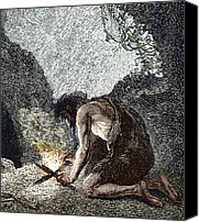 Fire Wood Canvas Prints - Early Human Making Fire Canvas Print by Sheila Terry