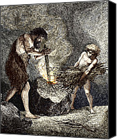 Fire Wood Canvas Prints - Early Humans Making Fire Canvas Print by Sheila Terry